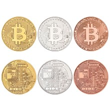 BTC Bitcoin Commemorative Coin Collect Badge Lucky...