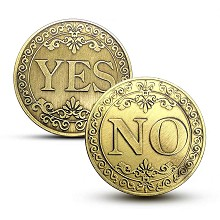 YES NO Commemorative Coin Collect Badge Lucky Coin...