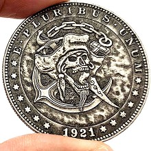 Pirate Skeleton Commemorative Coin Collect Badge L...
