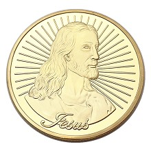 Jesus gold Commemorative Coin Collect Badge Lucky ...