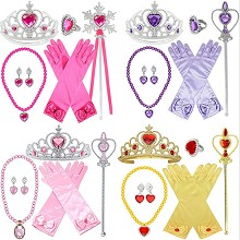 Frozen anime gloves+necklace+ring+earrings+crown+m...
