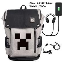 Minecraft game USB charging laptop backpack school...