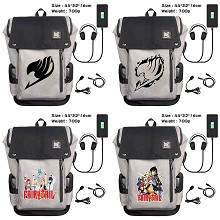Fairy Tail anime USB charging laptop backpack scho...